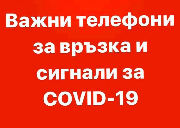 ВАЖНИ ТЕЛЕФОНИ ЗА ИНФОРМАЦИЯ И СИГНАЛИ ЗА COVID-19